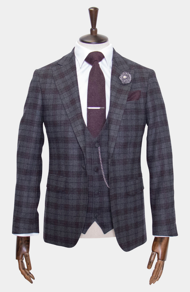 INISHEER CHECK WEDDING SUIT - HIRE.
