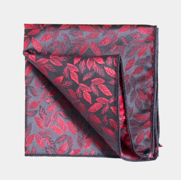 Red & Black Leaf Pocket Square.