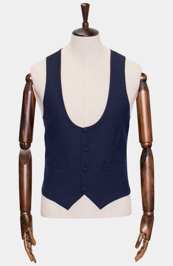 Harris Navy Low Scoop Waistcoat - Hire