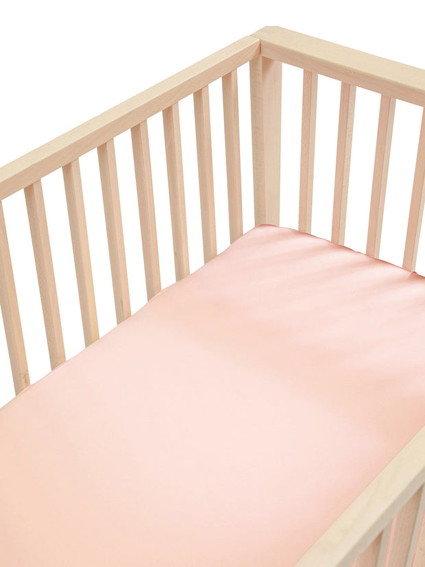 Sleepy Silk, Silk Fitted Sheet for Cots / Cribs - Cherry Blossom Pink (SS-FC-PK02) for baby hair loss and baby bald spots, Silky Tots 100% Silk Cot Sheet, Pawda Baby 100% Mulberry Silk Cot Full Fitted Sheet, Monday Silks, Baby Tresses Cot Bed Sheet