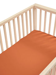 Sleepy Silk, Silk Fitted Sheet for Cots / Cribs - Terracotta Brown (SS-FC-BR00) for baby hair loss and baby bald spots, Silky Tots 100% Silk Cot Sheet, Pawda Baby 100% Mulberry Silk Cot Full Fitted Sheet, Monday Silks, Baby Tresses Cot Bed Sheet