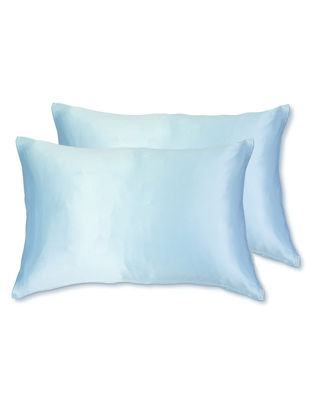 Sleepy Silk, Silk Pillowcase, Set of 2 - Sky Blue (SS-PP-BL00), Silky Tots Double Sided Silk Pillow Slip, Pawda Baby 100% Mulberry Silk Junior or Adult Pillow Case, Slip Pillowcase, SHHH Silk Silk Pillowcase