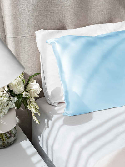 Sleepy Silk, Silk Pillowcase - Sky Blue (SS-PC-BL00), Silky Tots Double Sided Silk Pillow Slip, Pawda Baby 100% Mulberry Silk Junior or Adult Pillow Case, Slip Pillowcase, SHHH Silk Silk Pillowcase, Blissy Silk Pillowcase