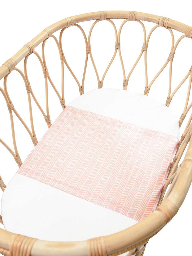 Sleepy Silk, Silk Sleeve for Bassinets - Blush Herringbone Pink - pattern (SS-BS-PK01) for baby hair loss and baby bald spots, Silky Tots Silk Bassinet Slip, Pawda Baby 100% Mulberry Silk Semi Sheet for Bassinet, Monday Silks, Baby Tresses Cot Bed Sheet
