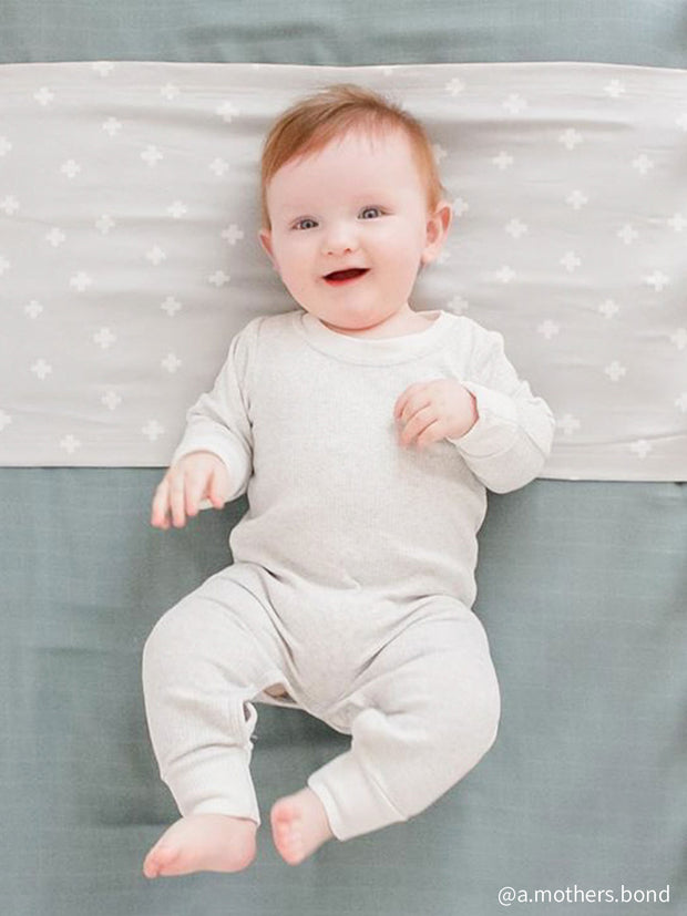 Sleepy Silk, Silk Sleeve for Cots / Cribs - Dove Grey Crosses Grey - pattern (SS-CS-GR01) for baby hair loss and baby bald spots, Silky Tots Silk Cot Slip, Pawda Baby 100% Mulberry Silk Cot Semi Sheet, Monday Silks, Baby Tresses Cot Bed Sheet