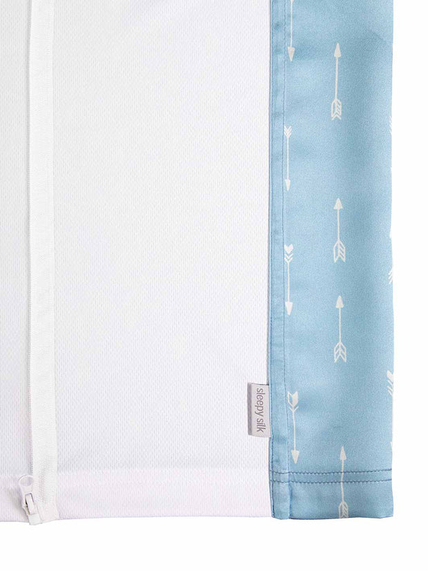 Sleepy Silk, Silk Sleeve for Cots / Cribs - Sky Arrows Blue - pattern (SS-CS-BL01) for baby hair loss and baby bald spots, Silky Tots Silk Cot Slip, Pawda Baby 100% Mulberry Silk Cot Semi Sheet, Monday Silks, Baby Tresses Cot Bed Sheet