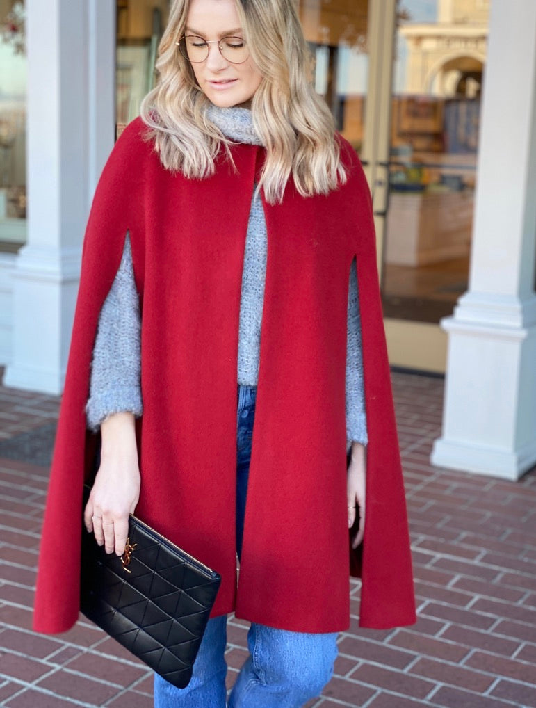 Madelyn Long Cape Red