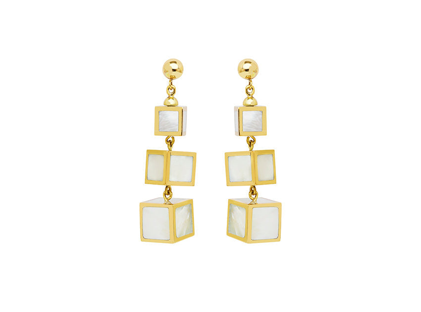 Mother of Pearl Cubic Drop Earrings