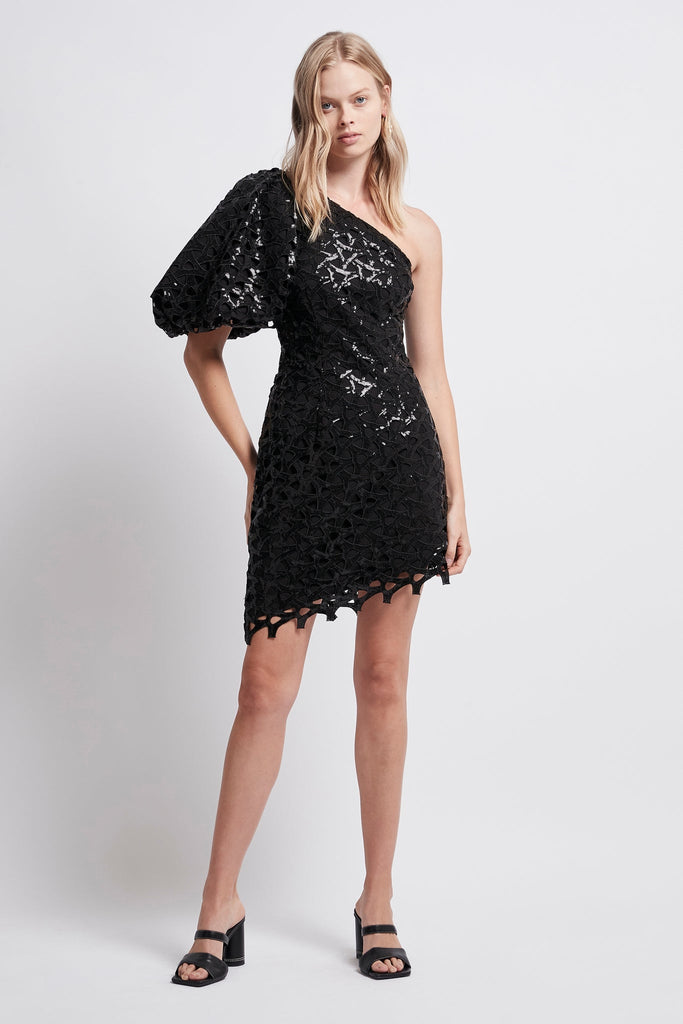 Motocyclette Embellished Asymmetric Mini Dress