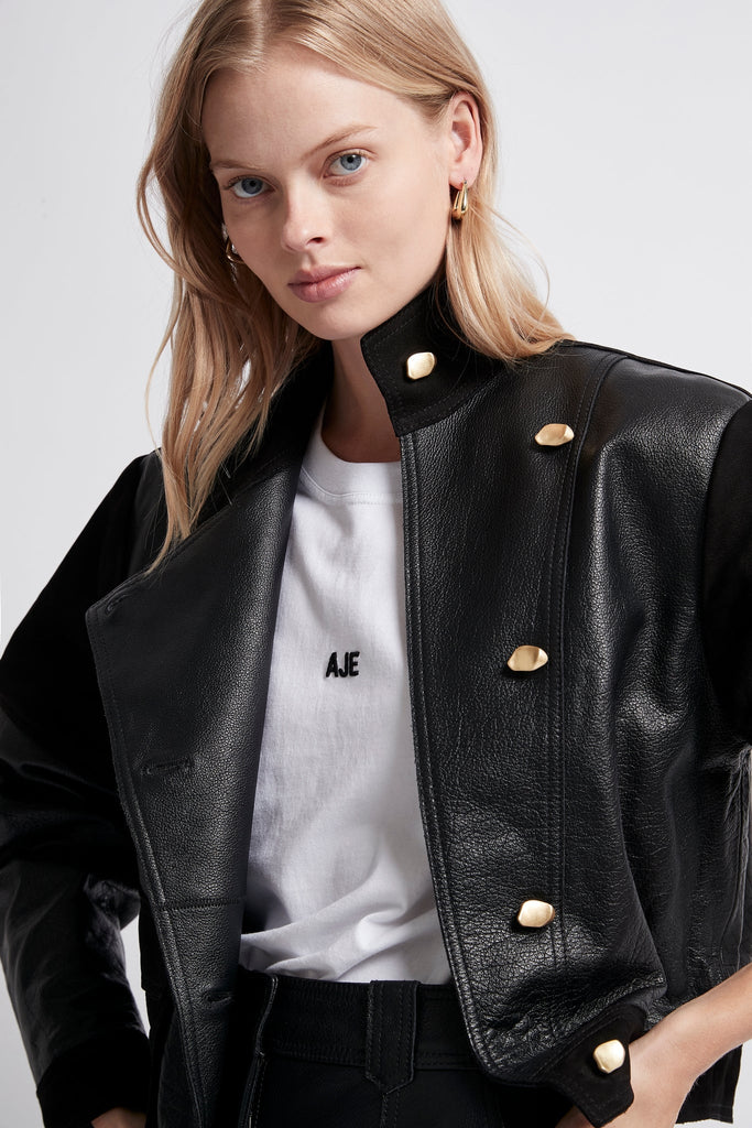 Motocyclette Leather Patch Jacket