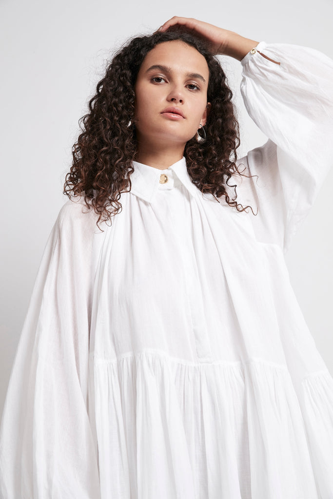 Mimosa Gathered Shirt Dress