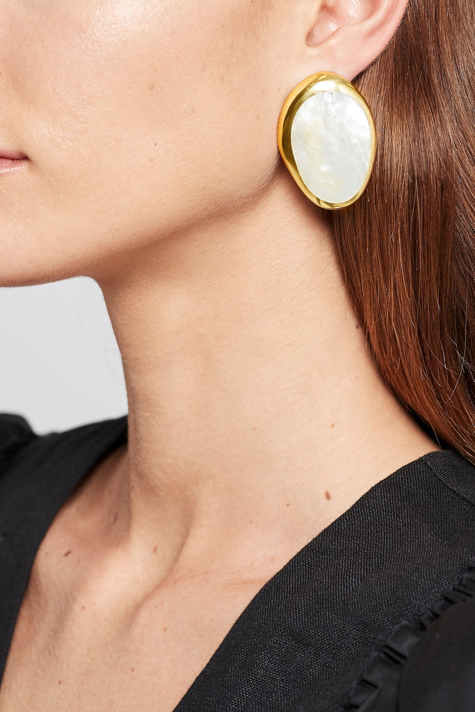 Mother of Pearl Round Drop Earrings