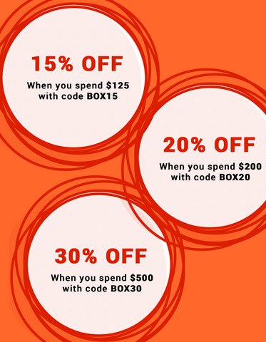 15% off when you spend $125, 20% off when you spend $200, 30% off when you spend $500.