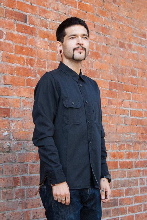 Pure Blue Japan Selvedge Denim Chinstrap Workshirt - Washed Black