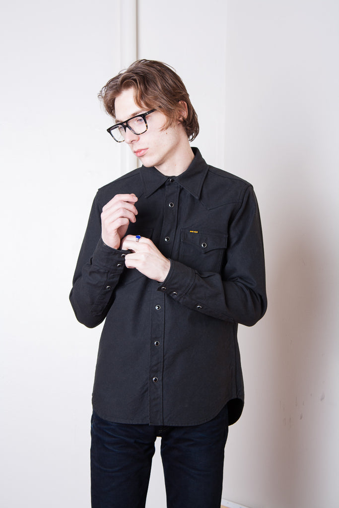 Iron Heart Military Serge Western Shirt - Dark Grey