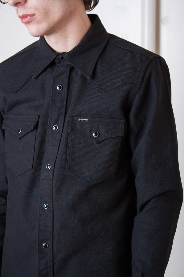 Iron Heart Military Serge Western Shirt - Dark Grey Jeans & Apparel - Dutil Denim