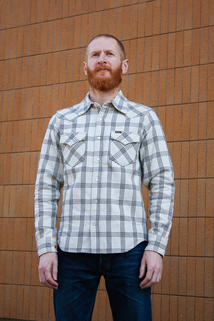 Iron Heart Ultra Heavy Flannel Western - Off White Plaid
