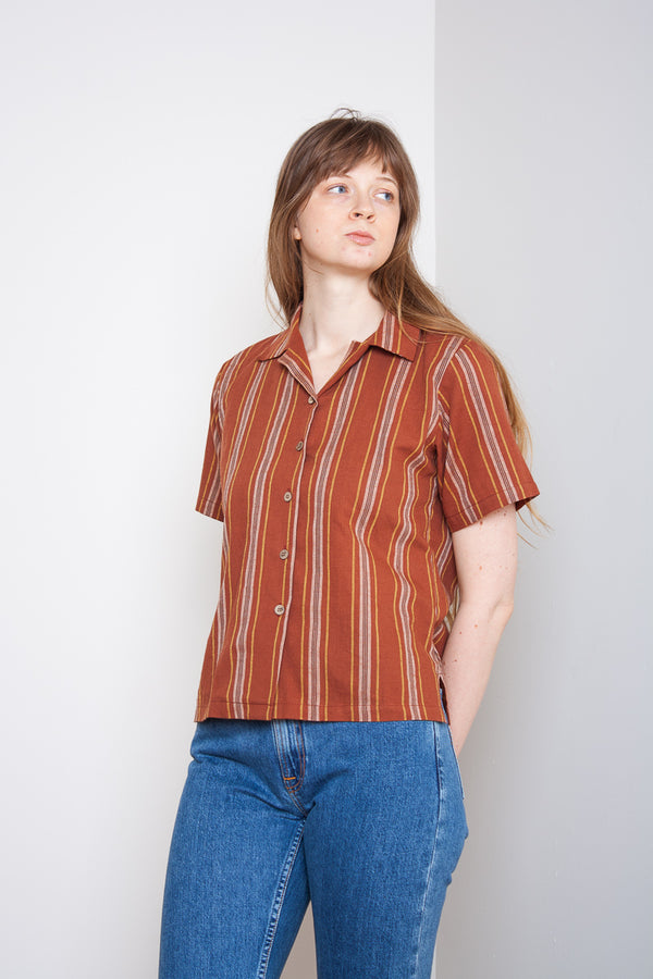 Naked & Famous Camp Collar Shirt - Sahara Stripe Brick Jeans & Apparel - Dutil Denim