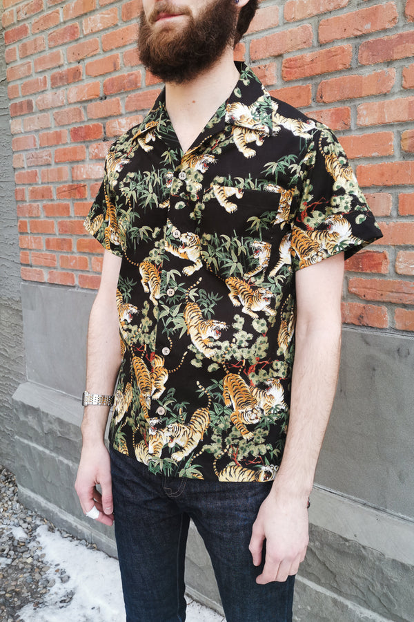 Naked & Famous Aloha Shirt - Japanese Tigers Black
