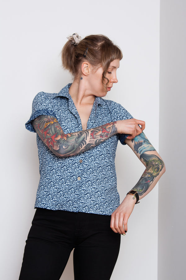 Naked & Famous Camp Collar Shirt - Indigo Floral Jeans & Apparel - Dutil Denim