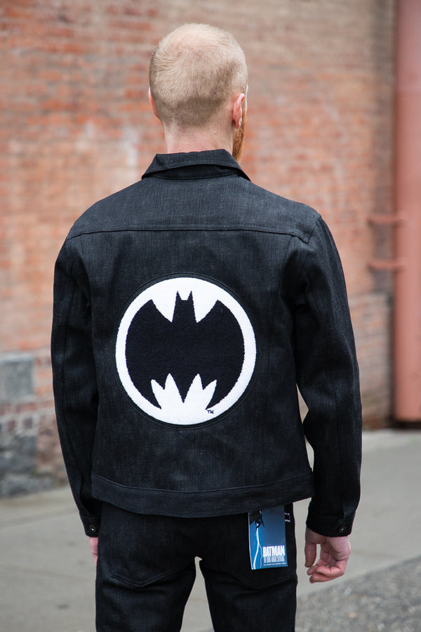 Naked & Famous Denim Embroidered Jacket - Dark Knight Selvedge 16oz Black x Grey