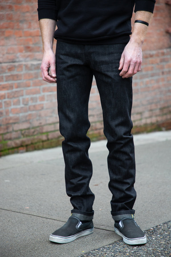 Naked & Famous Weird Guy - Dark Knight Selvedge 16oz Black x Grey