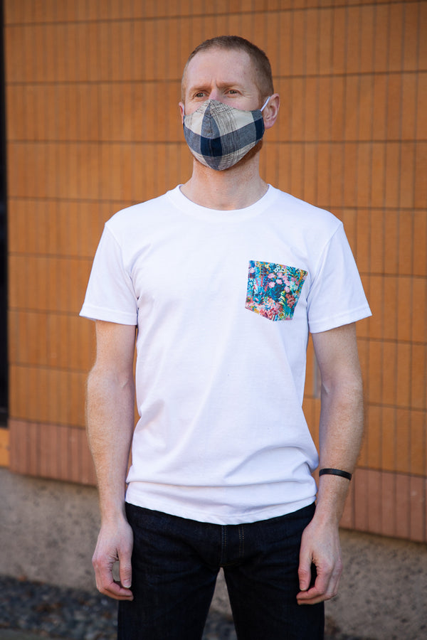 Naked & Famous Pocket Tee - Flower Painting Multi - White