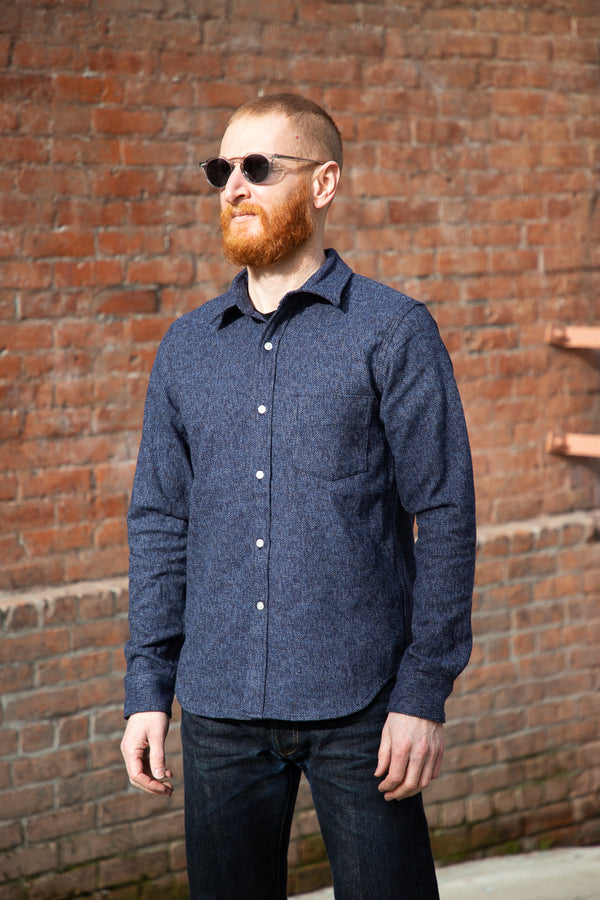 Rogue Territory Oxford Shirt - Variegated Navy Flannel