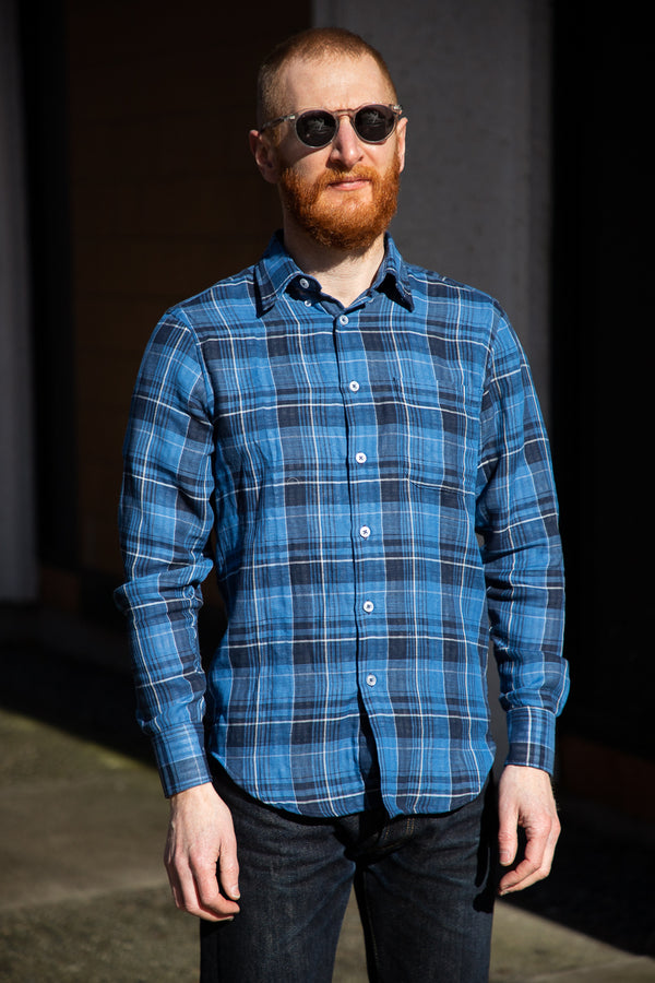 Naked & Famous Easy Shirt - Double Faced Check - Dark Blue