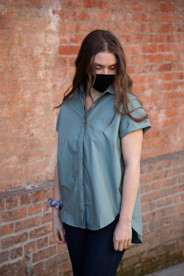 Naked & Famous Bubble Blouse - Cotton Typewriter Cyan