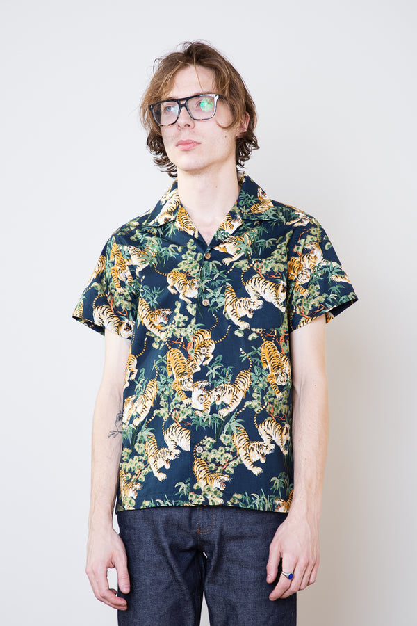 Naked & Famous Aloha Shirt - Japanese Tigers Navy Jeans & Apparel - Dutil Denim