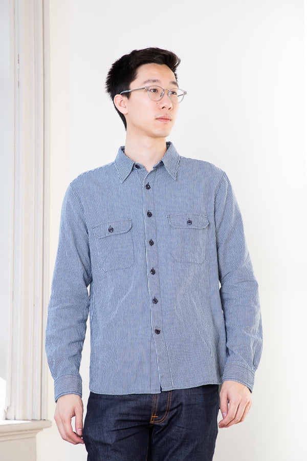 Circle of Friends Two Pocket Shirt - Hickory Stripe Enzyme Wash