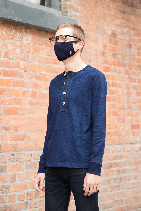 Pure Blue Japan Knitted Slub Jersey Long Sleeve Shirt - Indigo