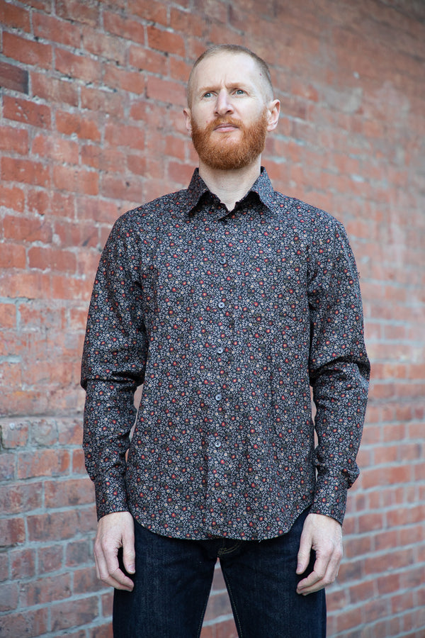 Naked & Famous Easy Shirt - Vintage Flowers - Black