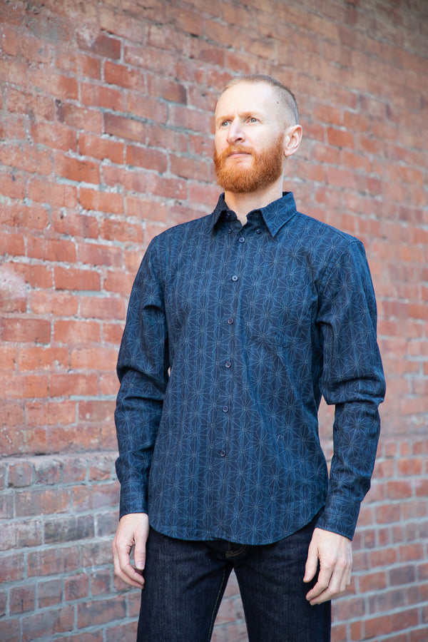 Naked & Famous Easy Shirt - Kimono Pattern - Dark Blue