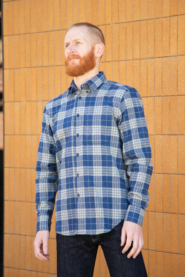 Naked & Famous Easy Shirt - Triple Twist Yarn Vintage Flannel - Blue