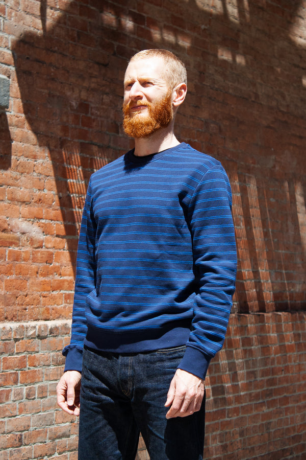 APC Marceau Crewneck Sweatshirt - Navy Stripe Jeans & Apparel - Dutil Denim