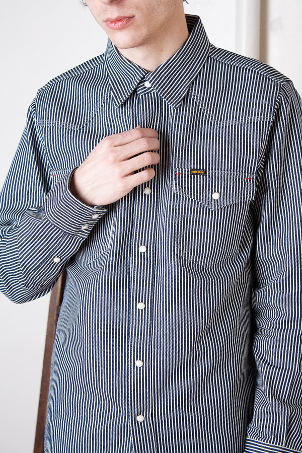 Iron Heart Western Shirt - Hickory Stripe Navy Jeans & Apparel - Dutil Denim
