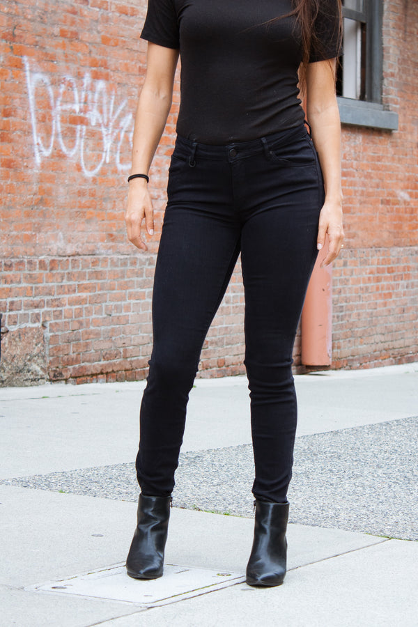 Neuw Bowery Mid-Rise Skinny - Black Silk Jeans & Apparel - Dutil Denim