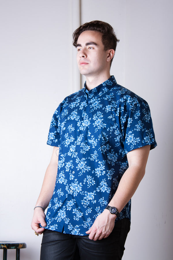 Naked & Famous Short Sleeved Easy Shirt - Floral Sketch Blue Jeans & Apparel - Dutil Denim
