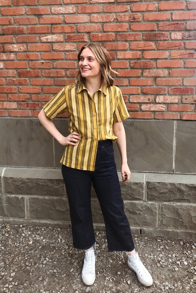 Naked & Famous Camp Collar Shirt - Sahara Stripe Yellow Jeans & Apparel - Dutil Denim