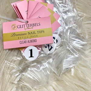 Glitterbels Clear Almond Tips Refill 50 Pack - The Nail Throne USA