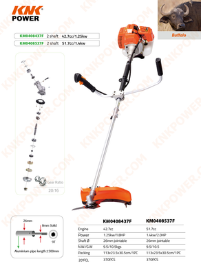 KM0408437F 42.7CC GASOLINE BRUSHCUTTER & GRASS TRIMMER 2 SHAFTS Engine:42.7cc Power:1.25kw 1.8HP Shaft Ф:26mm jointable