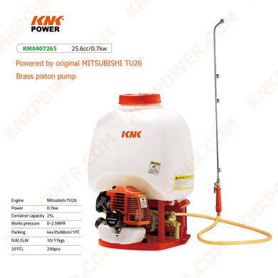 KM0407265 LIQUID SPRAYER Engine:Honda GX35 Power:1.0kw Container capacity:25L Works pressure:0-2.5MPA Packing:48x40x65cm 1PC N.W. G.W.:10.5 11.5kgs 20'FCL:240PCS