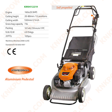 KM0412219 160CC LAWN MOWER 160CCEngine:160cc (5.5HP) Cutting height:20-80mm 12 positions Cutting width:530mm 21inch Grass bag capacity:73L