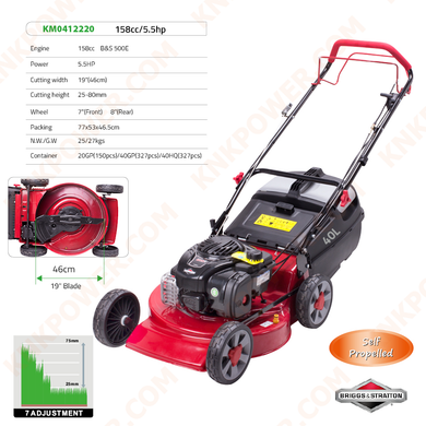 KM0412220 158CC LAWN MOWER Engine:158cc (5.5HP) B&S 500E Cutting height:25-80mm Cutting width:19inch (46CM)