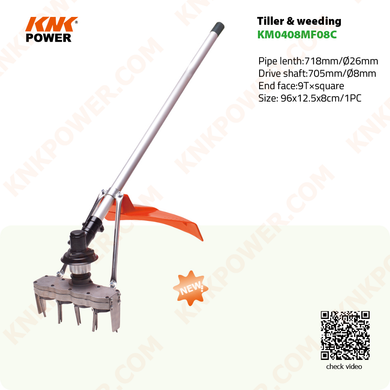 KM0408MF08C TILLER & WEEDER ATTACHMENT N.W G.W: 6.0 6.5kgs Packing: 85x15.5x17.5cm 1pc 20FCL: 360PCS