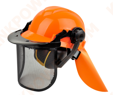 knkpower [16447] HELMET SET WITH EARMUFFS, MESH VISOR AND SHAWL IN ORANGE COLOR