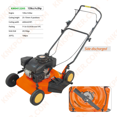 KM0412205 139CC LAWN MOWER SIDE DISCHARGED 139CCEngine:139cc 3.0kw Cutting height:25-75mm 5 positions Cutting width:460mm Grass bag capacity:60L