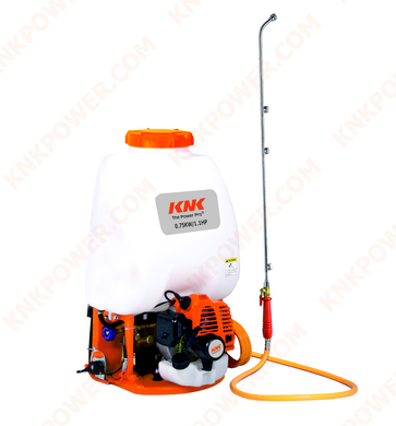 KM0407768 25.4CC LIQUID SPRAYER 25.4CCEngine:25.4cc(1E34F) Power:0.75kw Container capacity:25L Works pressure:0-2.5MPA Packing:42x33x65cm 1PC N.W. G.W.:10 11kgs 20'FCL:310PCS